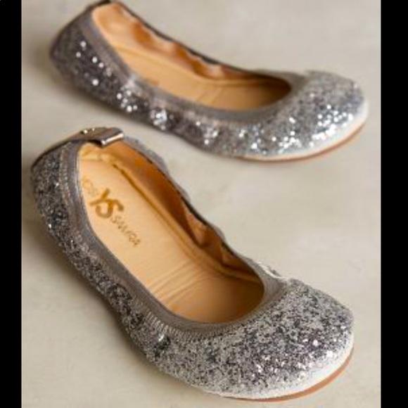 Yosi Samar serena flats silver glitter NEW Sz.8